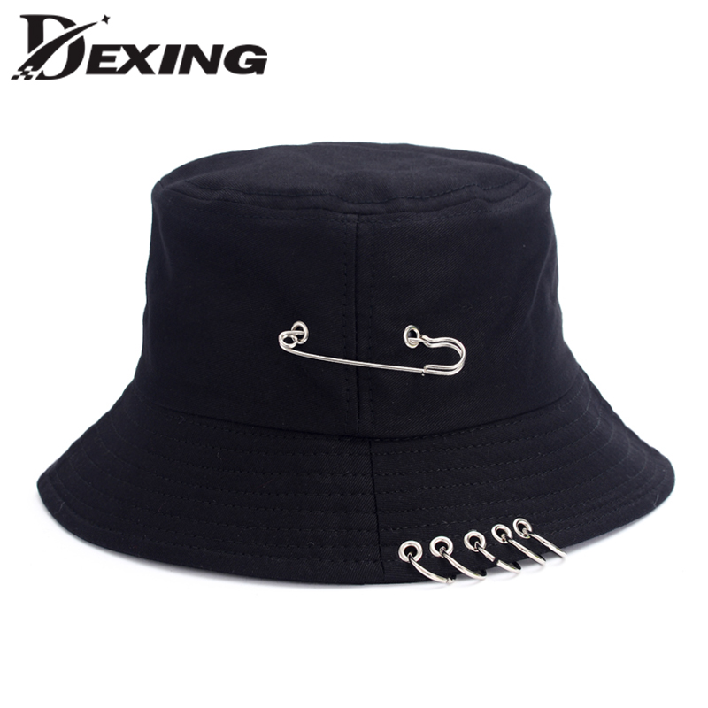 Wholesale BTS Fashion K POP Iron Ring Bucket Hats Popular Style Cap 100%  Handmade Rings cb1923979ba8