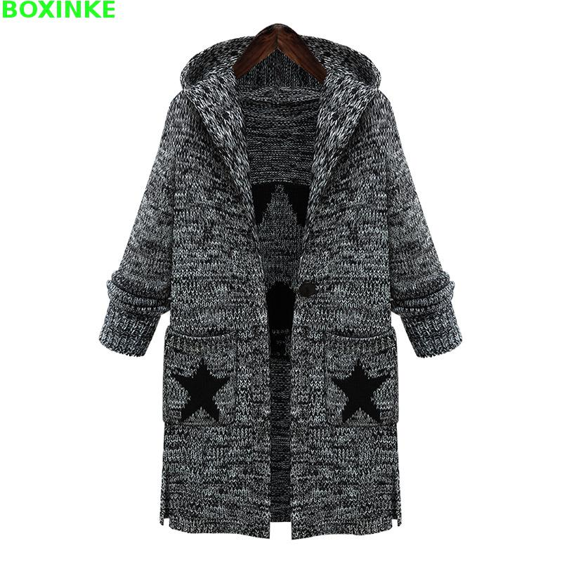 2018 Real Rushed Full Plus Size Women Sweaters Autumn Winter Fashionable Hooded Star Pattern Loose Knitting Extra Large Sweate ...