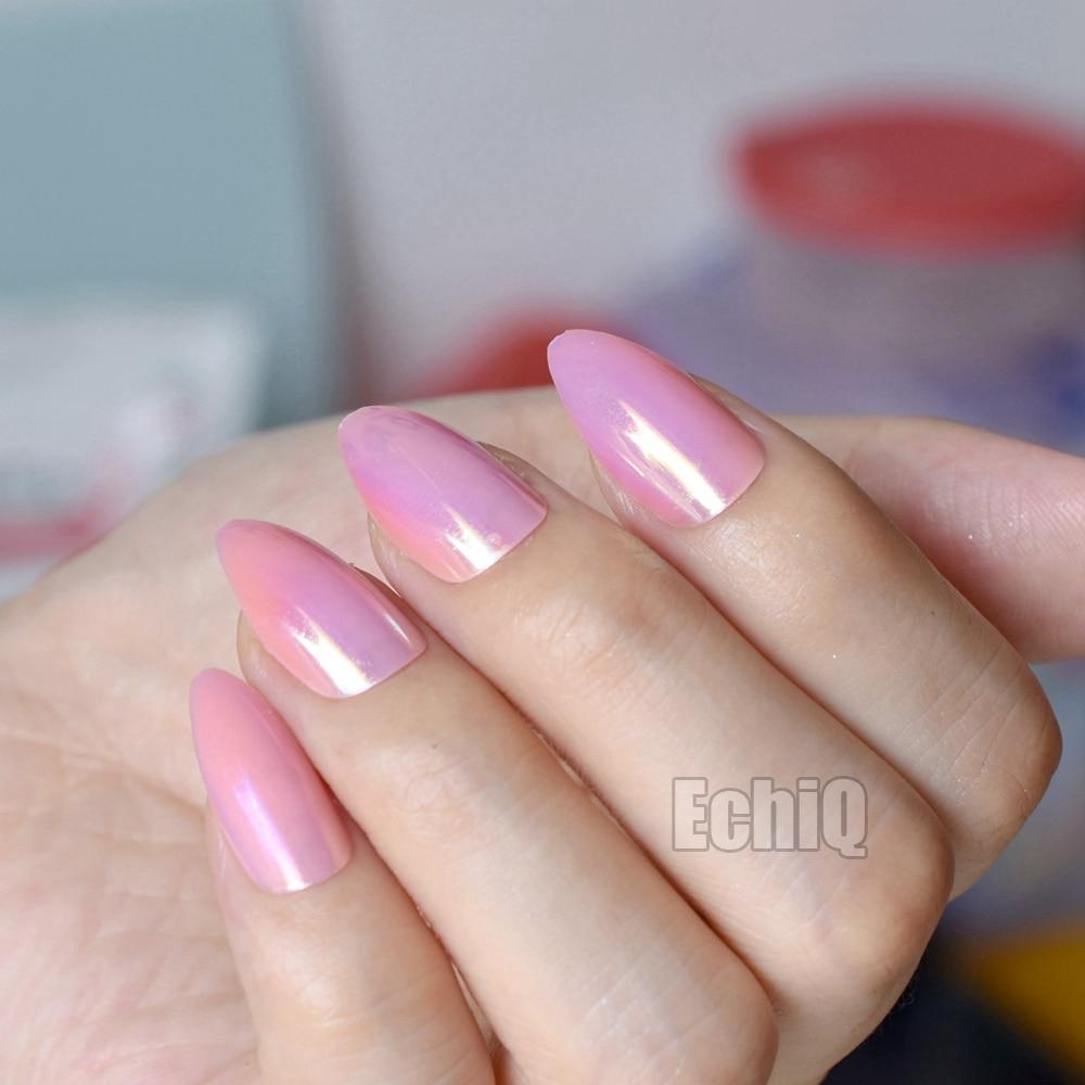 Hologram Pink Stiletto Fake Nails Chrome False Nail Full Cover Magic ...