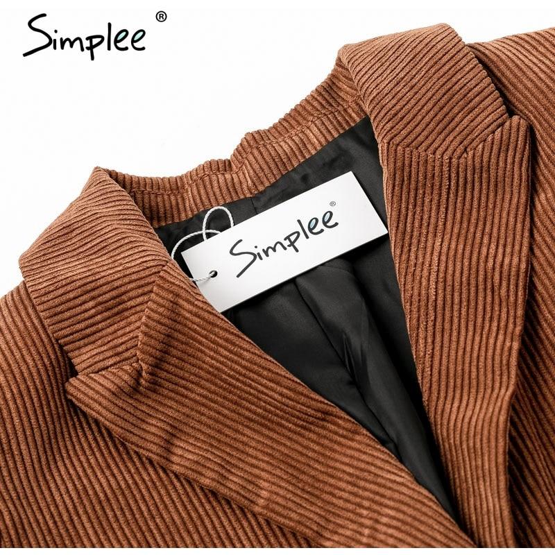 Compre Simplee Otoño Pana Mujer Blazer Marrón Casual Bolsillos De Manga Larga Para Mujer Blazer Chaqueta De Chaqueta De Señora De Oficina De Un Solo