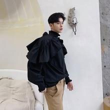 Мужская Черная Повседневная рубашка с длинным рукавом, одежда из двух предметов, свободная уличная одежда в стиле хип-хоп, панк, готика, вечерние рубашки для сцены