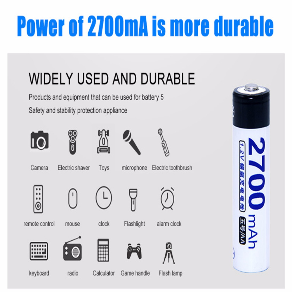 8 pcs AA portable 1.2V NIMH AA rechargeable batteries 2700mah for camera razor toy remote control flashlight 2A batterie