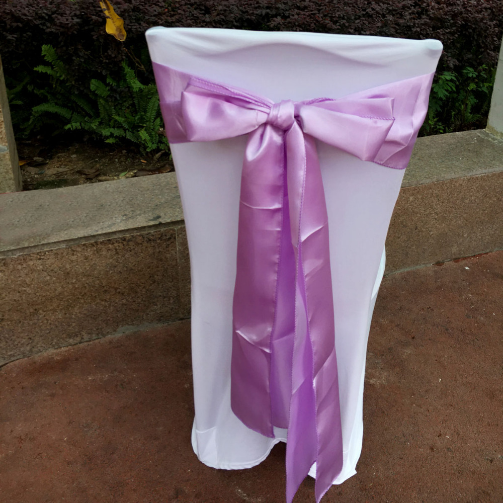 purple chair sashes for weddings covers in ireland っ50 pieces lavender 6x108 bands satin bow 50 wedding banquet supply decoration