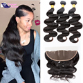 Lace Closure With Bundles Human Hair Bundle With Full Frontal Ear To Ear Peruvian Body Wave Frontal With Bundles