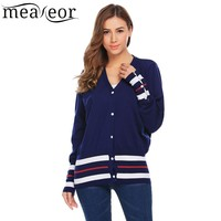 Meaneor Women S Sweater Tops Autumn Spring V Neck Long Sleeve Casual Striped Button Down Knit