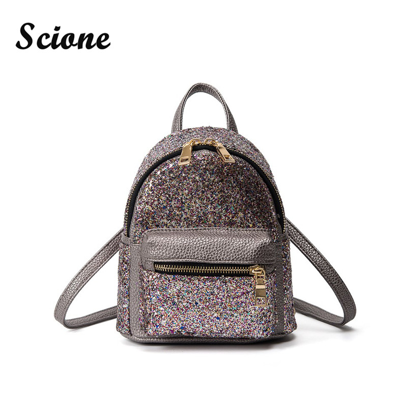 Cute Kawaii Small Backpack 2017 PU Leather Sequins Backpacks Travel Double Shoulder Bag Funny Mini Bling