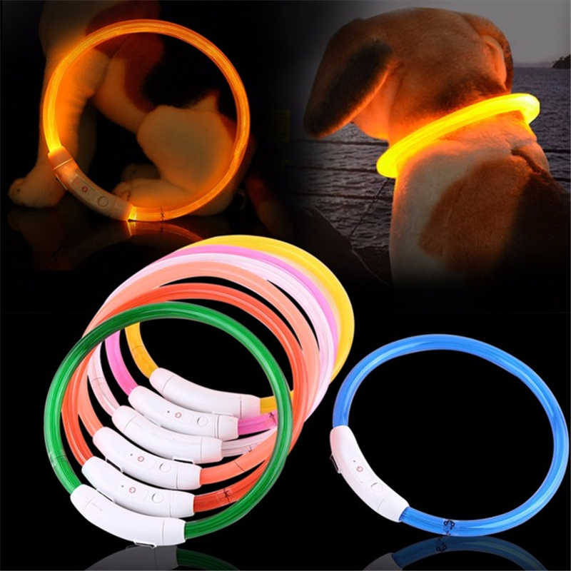 Adjustable USB Charging Pet Dog Collar Rechargeable LED Tube Flashing Night Dog Collars Glowing Luminous Safety Pets Collar #15
