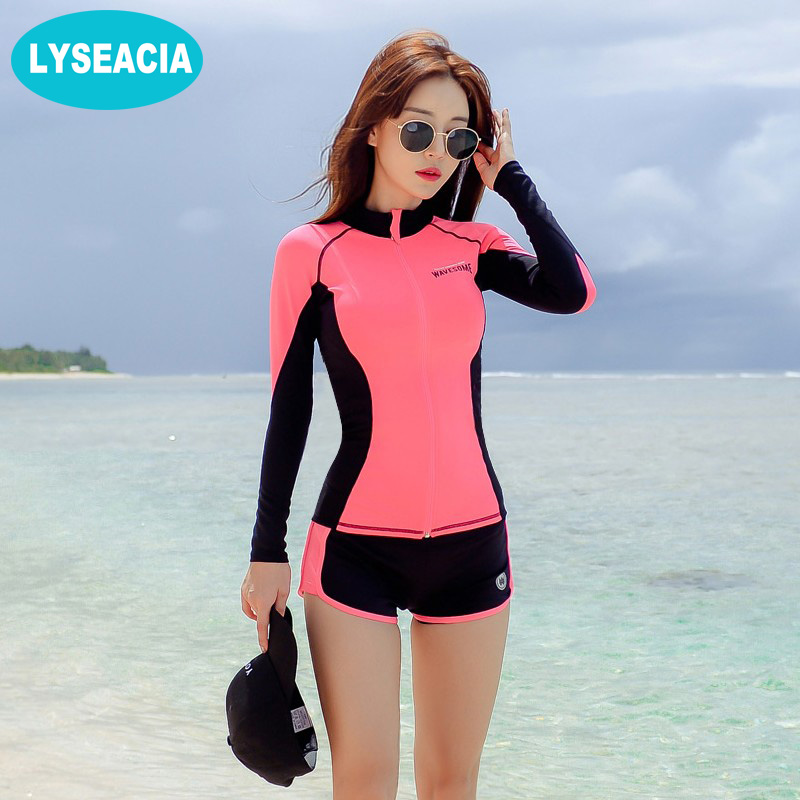 LYSEACIA Long Sleeve Rashguard Women Surfing Suit Nylon Rash Guard Swimsuit Pink Shirt Black Bra Beach Shorts Three Piece Bather 2016 sbart long sleeve rash guard women jacket shirt swimwear swimsuit surf rashguard windsurf suit top tshirt clothes d53