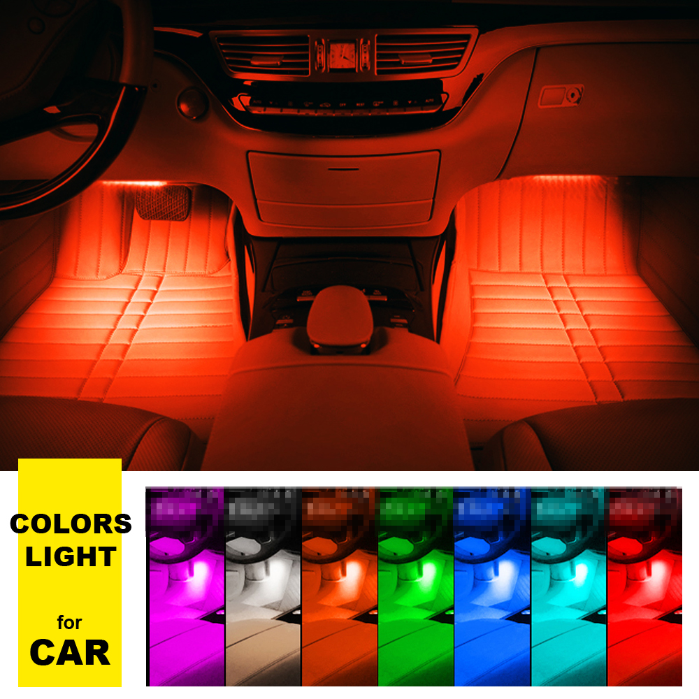 Auto Interieur Lamp Us 10 35 31 Off 4 9 Led Auto Licht Interieur Sfeer Suv Floor Strip Lamp Afstandsbediening Muziek Controle Auto Interieur Neon Lights In 4 9 Led Auto