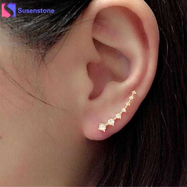 4198f31a8e42 Cristal blanco oro Dipper gancho pendientes siete estrellas joyería hermoso  oreja fila accesorios línea tipo