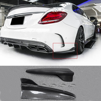 W205 AMG & C63 F Style Car Styling Real Carbon Rear Flats Side Skirts Extension Lip for Mercedes Benz W205 4 Door AMG C63