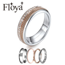 Floya 6mm Wide Filled Rings Women Stackable Band Multi Jewelry Vintage Summer Adjustable Stainless Steel Ring Free Shipping Box(China)
