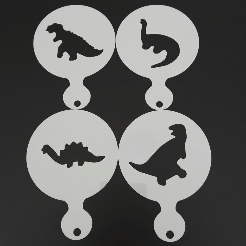 4pcs Dinosaur Coffee Stencils Cupcake Cookie Barista Latte Cappuccino Plastic Template For Painting Cake Decorating Tools