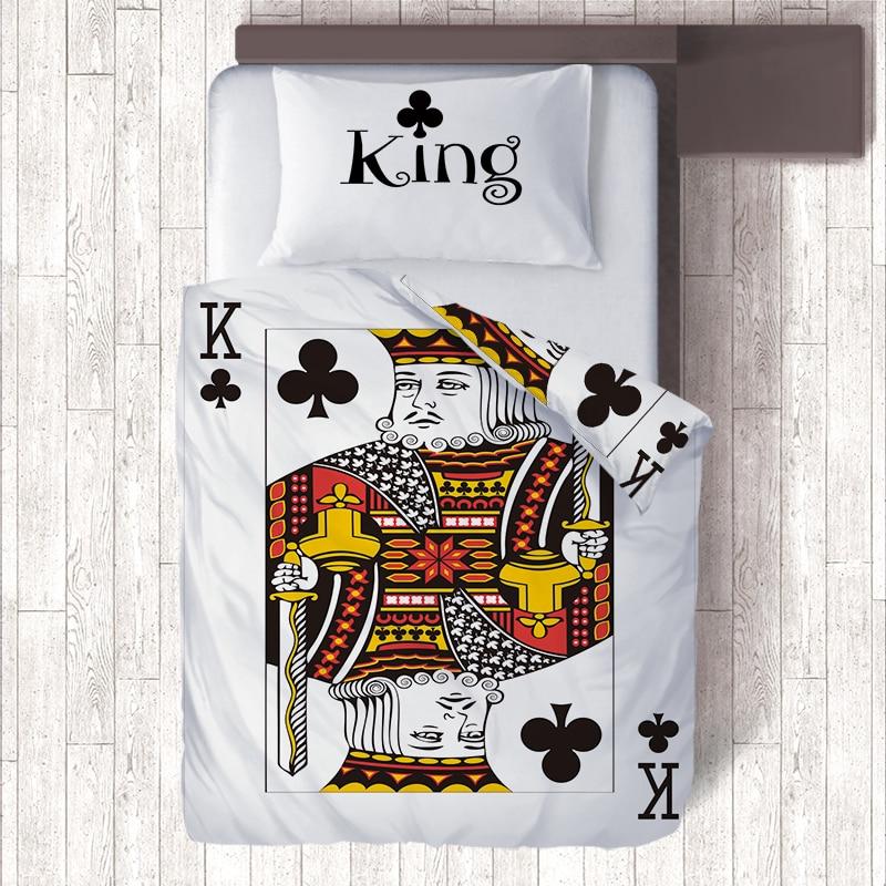 Funny Poker Emoji 2 Sided Print King Bedding Sets,White/Colorful Single Quilt Duvet Cover & Pillowcase,3D Kid Bedroom Home Decor