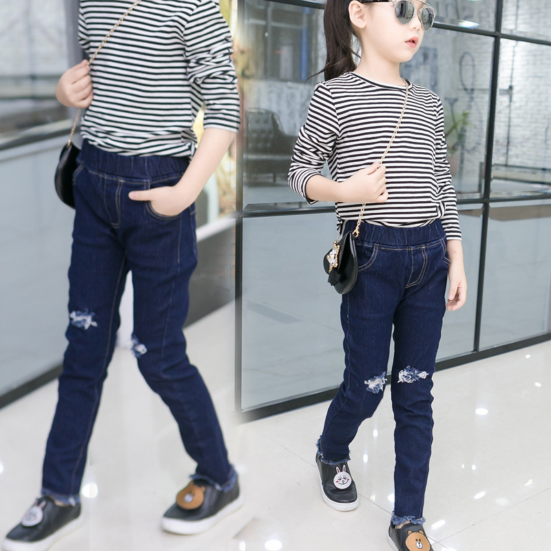 Girls Ripped Jeans Trousers Thin Child Children Slim Jeans Stretch Hot Kids Pants Dark Blue Hole Demin