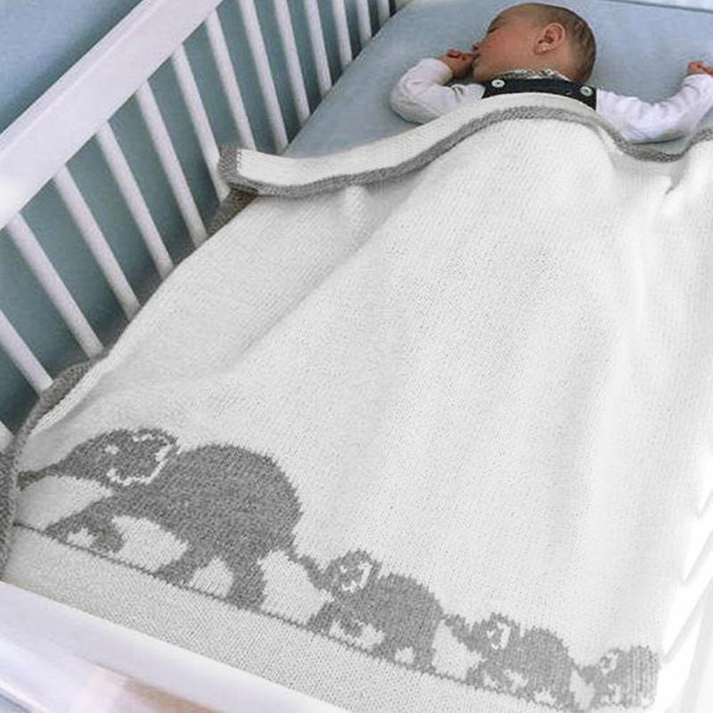 Baby Swaddle Blanket Soft Cartoon Elephant Knitted Stroller Bedding Wrap Baby Care Stroller Accessories  Baby Bath Towel
