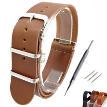 Zulu Leather Watch Strap Band Watchbands Black Leather 18mm 20mm 22mm For Nato G10 Watchband + Tool цены