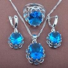 d33c76970de3 Conjunto de joyas de plata de ley 925 Occidente estilo Zircon azul Oval  joyería de la boda colgante collar pendientes anillo TZ0.