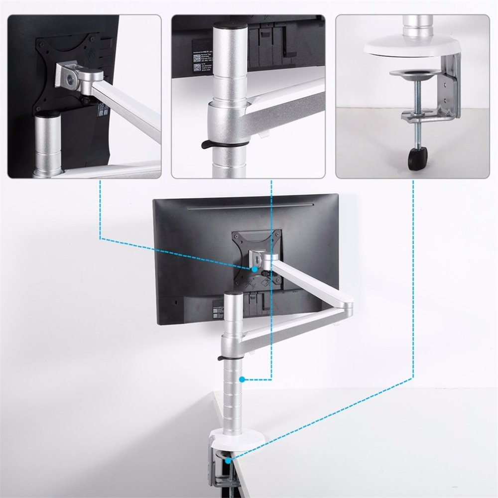 LESHP Height Adjustable within 27 inch LCD LED Monitor Holder Arm Bracket 360 Degree Rotatable Monitor Stand Free shipping