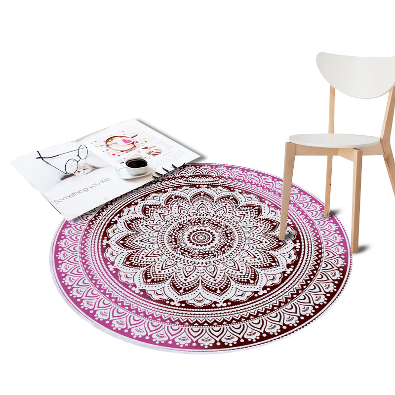 Anti-Slip Round Rugs for Living Room Doormat Mandala Print Carpet Door Floor Mats for Bedroom Bohemia Kids Chair Mats Home Decor