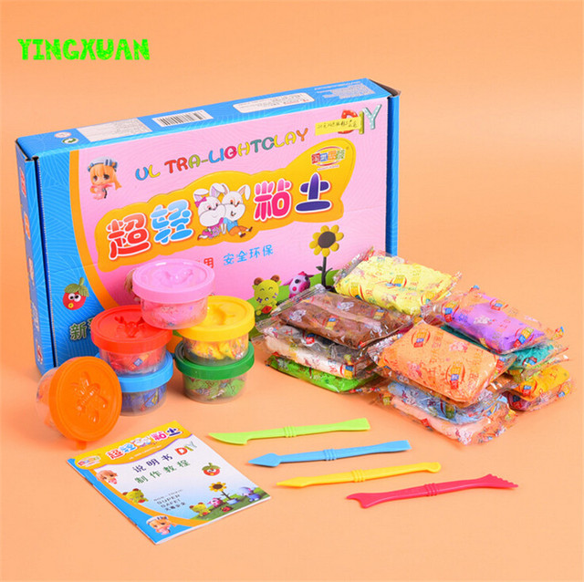 HAPPYXUAN 24 colors Super Light Playdough Polymer Clay Box Set High Quality Rubber Mud for kids Non-toxic DIY Craft Materials