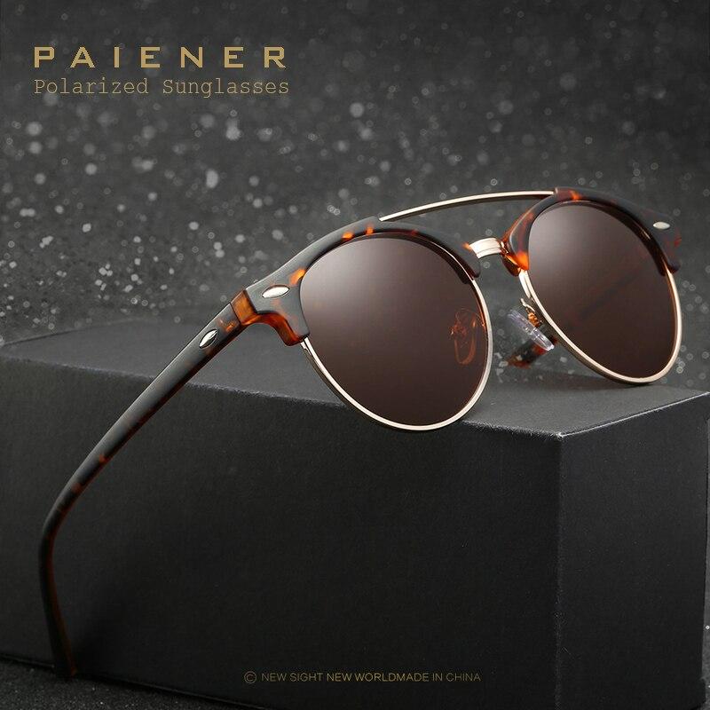 Gafas de sol polarizadas de diseño clásico de marca marco de medio metal nuevo erika sunglass hombres mujeres gafas de sol redondas oculos de sol femenino