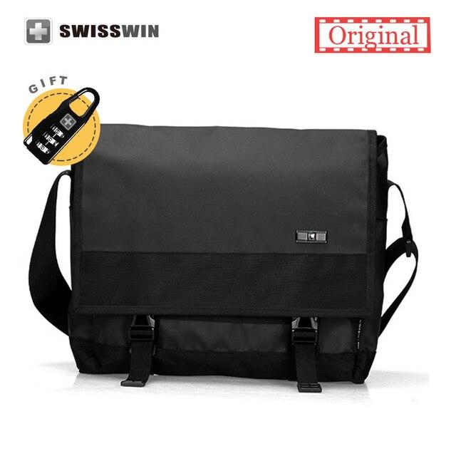 Swiss Laptop Messenger Bag Men Waterproof Satchel Bag School Military Crossbody  Shoulder Bag Black For 13