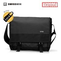 Swisswin Laptop Messenger Bag Men Waterproof Satchel Bag School Military Crossbody Shoulder Bag Black For 13
