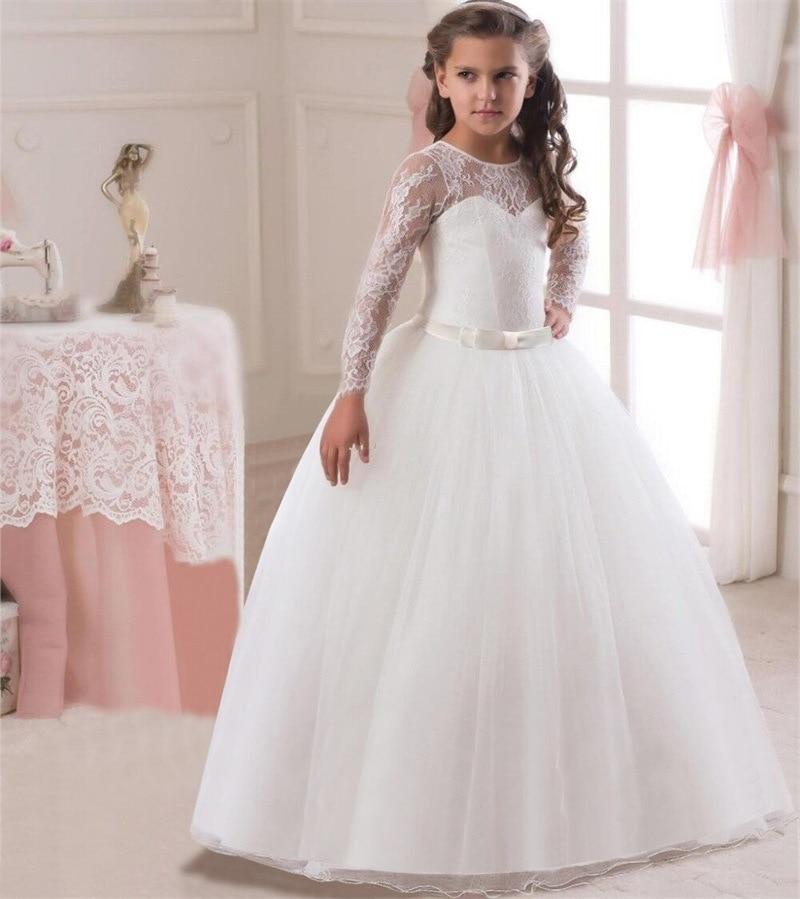 Long Sleeves 2019 Flower Girl Dresses For Weddings Ball Gown Tulle Lace Sash Long First Communion Dresses For Little Girls