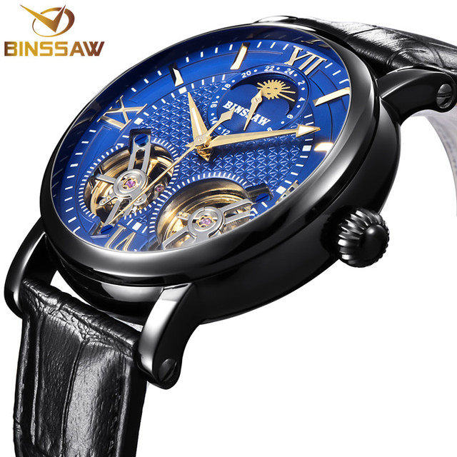 BINSSAW New Automatic Mechanical Men Watch Double Tourbillon Luxury Brand Male Watch Leather Business Watches Relogio Masculino