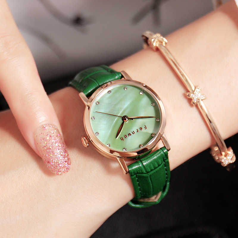 Luxury Brand Pear Shell dial Ladies Watches Fashion colorful Leather Strap Quartz Women Watch Waterproof Watch Montre Femme women watches top brand luxury fashion slim red leather strap roman numerals dial quartz wrist watch ladies clock montre femme