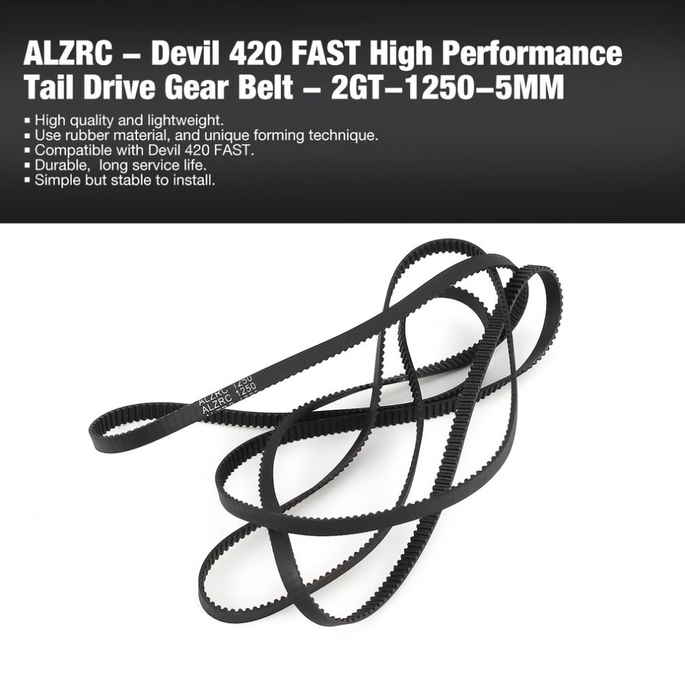 ALZRC - Devil 420 FAST High Performance Tail Drive Gear Belt - 2GT-1250-5MM Helicopter Lightweight Spare Parts Accessories ht
