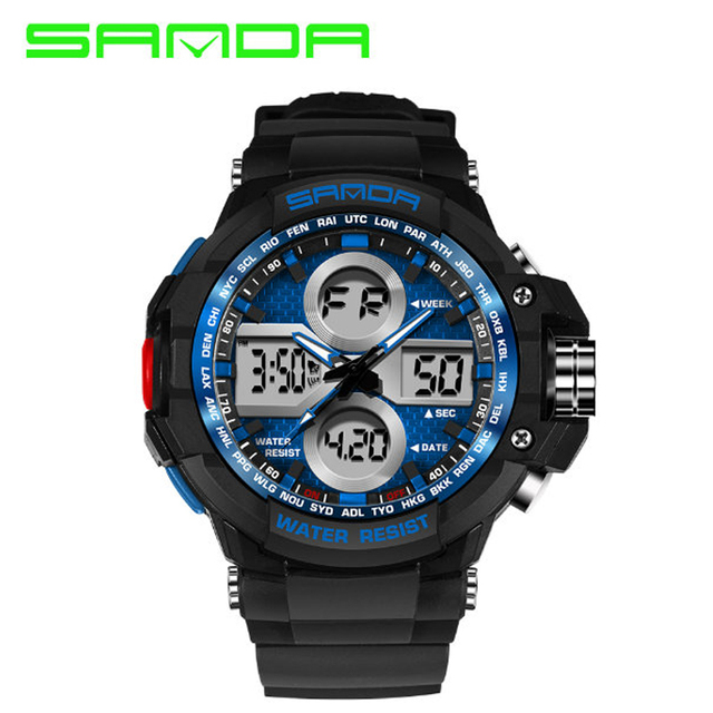 Sanda Brand Mens Sports Watches Men Dual Display Analog Digital LED Electronic Quartz Watches 50M Waterproof Swimming Watch Man