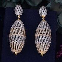 GODKI 70mm Luxury Trendy Hollow Ball Cubic Zirconia Naija Wedding Party Earring Fashion Jewelry For Women