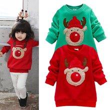 Младенческая Baby Дети Теплые Девушки Chritmas Олень Pattern Толстовки Свитера Одежда 0-3Y