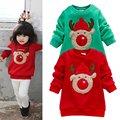 Infantiles Bebé Niños ropa de Abrigo Niñas Chritmas Ciervos Patrón Sudaderas Con Capucha Suéteres Ropa 0-3Y