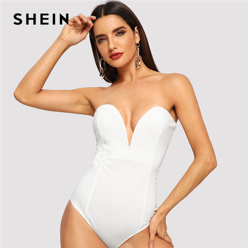 SHEIN White Sweetheart Bustier Bodysuit Deep V Neck Sexy Casual Strapless Bodysuit Women 2018 Autumn Plain Elegant Bodysuits