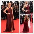 2017 Fashion Halter Side Slit Wrinkled Draped Blake Lively Wine Red Evening Dress Cannes Film Festival Red Celebrity Dresses