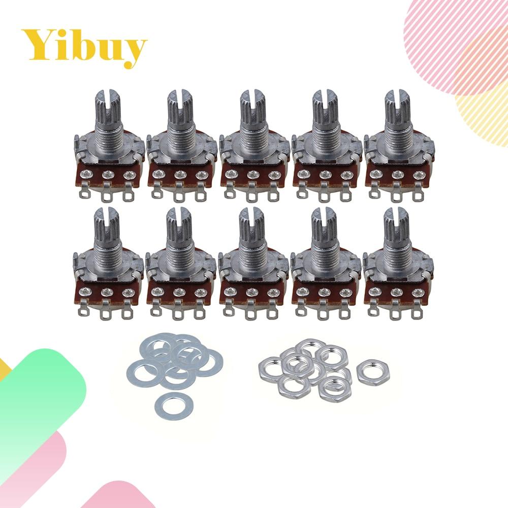 Yibuy 10pcs 16mm Base A100k 15mm Shaft Electric Guitar Tone Potentiometer