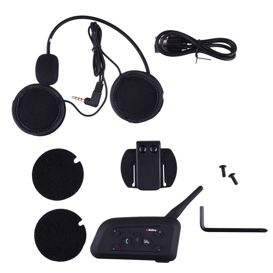 Motorcycle Bluetooth Helmet Intercom 1200M Full Duplex 6 Riders Wireless BT Interphone Headsets Communication System EU