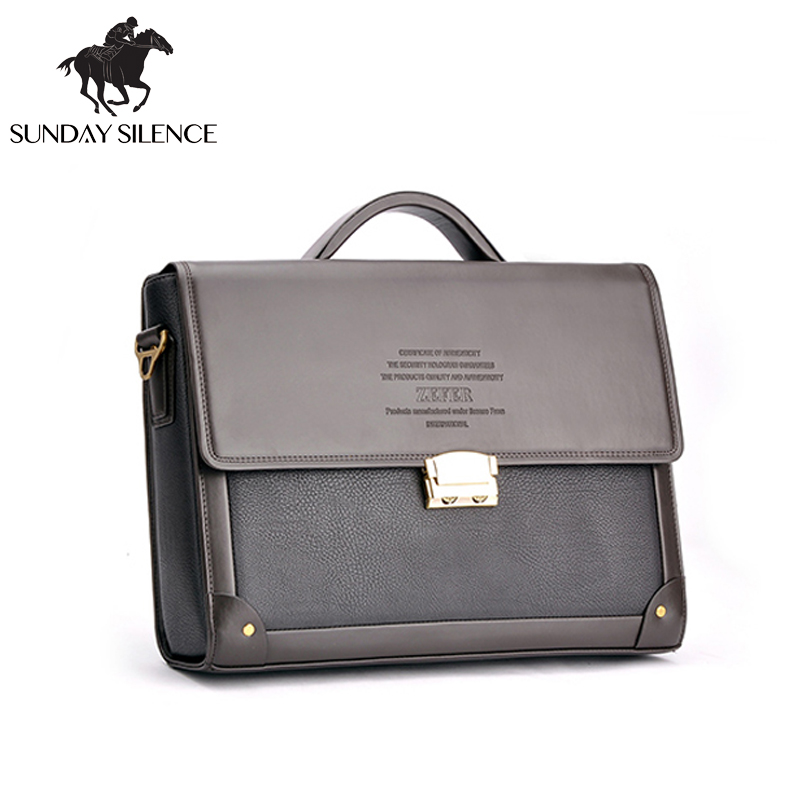 ФОТО 2017 New Men Business Briefcase with Lock Fashion  Classic Style HandBag Briefcase Famous Designer Gentlemen Leather Laptop Bag