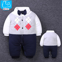 Newborn Baby Rompers Winter Thicken Cotton Tie Gentleman Suit Bow Leisure Body Suit Clothing Toddler Jumpsuit
