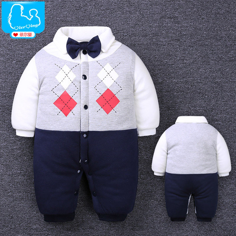 Newborn Baby Rompers Winter Thicken Cotton Tie Gentleman Suit Bow Leisure Body Suit Clothing Toddler Jumpsuit Baby Boys Clothes summer baby boy rompers newborn gentleman clothing set cotton bow tie prince leisure costumes infant jumpsuit brand boys clothes