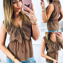 Summer Women Casual Sleeveless Tank Tops Vest Blouse Falbala Tunic Loose T-Shirt plain falbala patchwork blouse