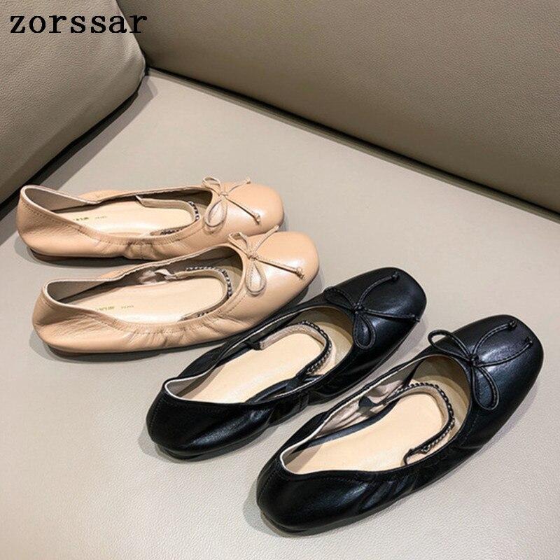 Las apricot Moda Cuero Mocasines Zapatos Mujeres Conducción Casual Boca Mujer Negro Genuino 2019 Ballet Pisos Suave De Mujeres Baja La g5qwnxfB