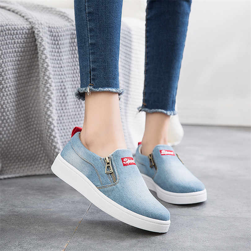 LIN KING ออกแบบใหม่ผู้หญิงรองเท้าลำลองผ้าใบ Denim รองเท้า Slip รองเท้าสบายสุภาพสตรีซิปรองเท้าผ้าใบขนาด Plus 44