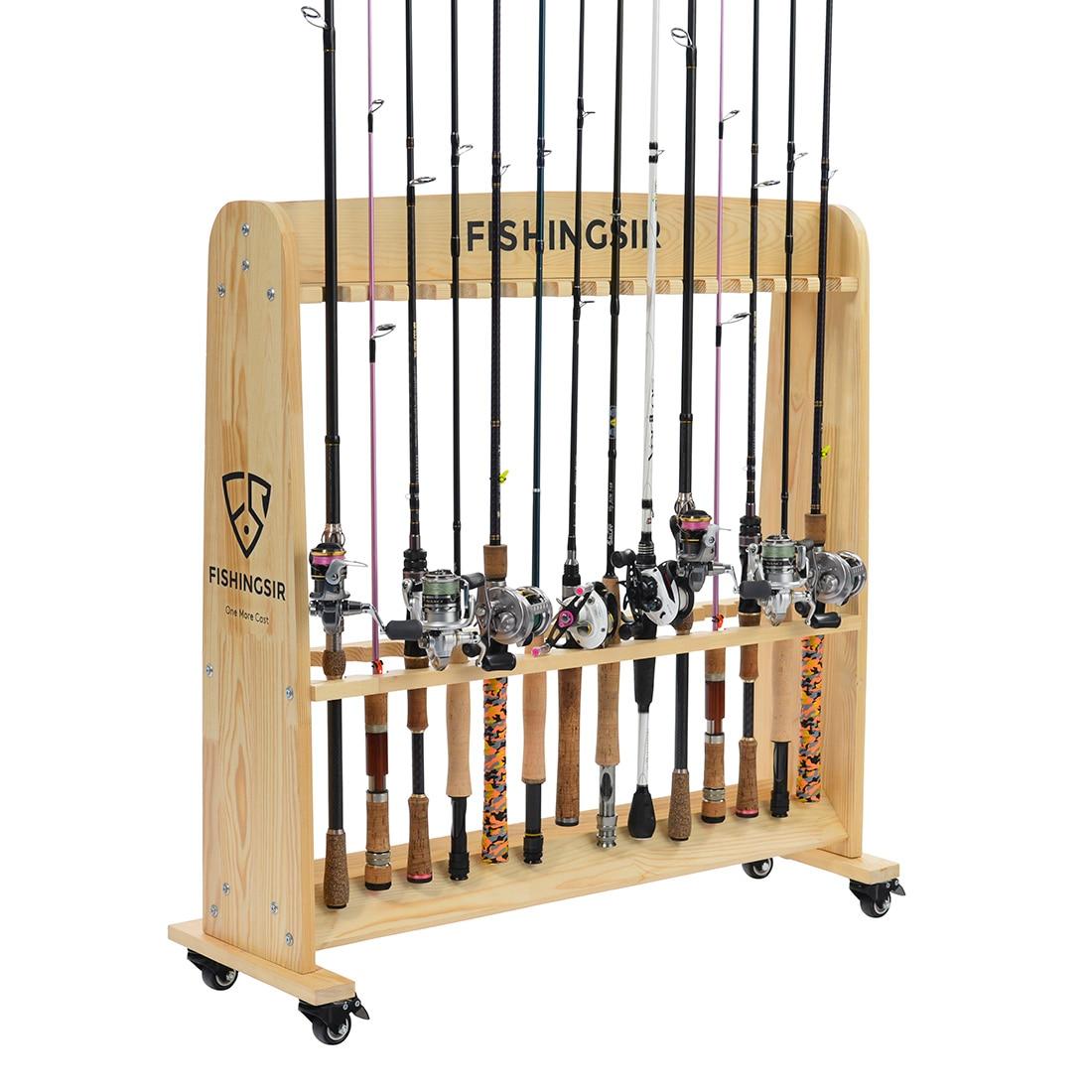 Aliexpress.com : Buy FISHINGSIR Fishing Rod Rack 28 Wood Rod Holder ...