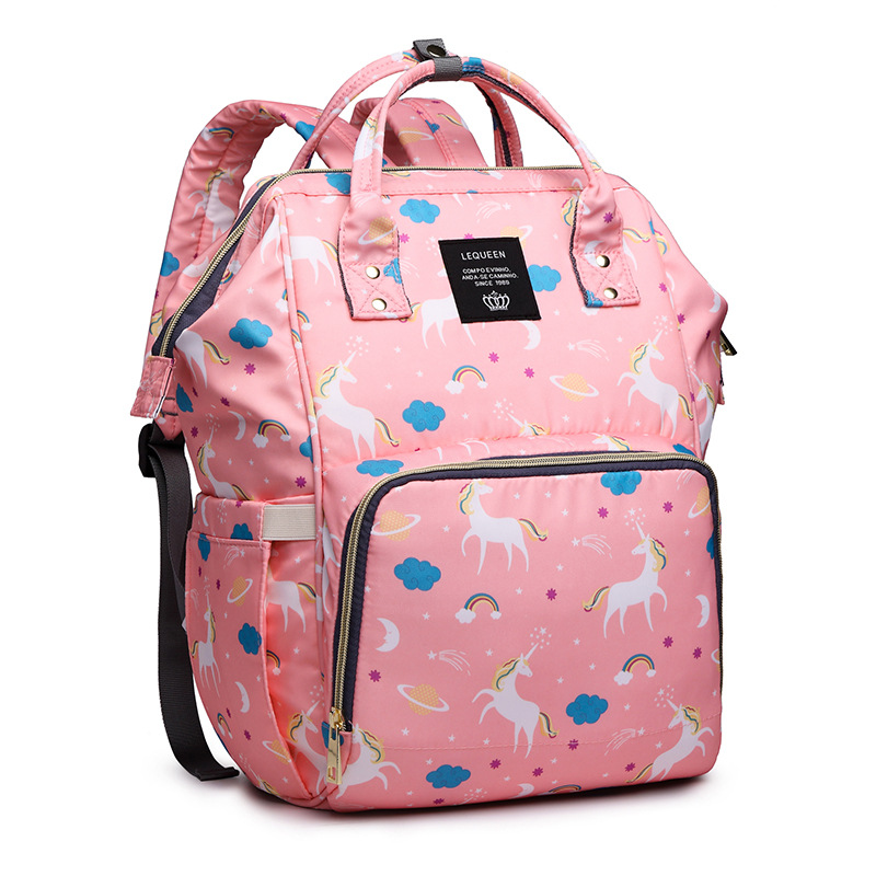 Brand Women Mochila Backpack Unicorn Print Bags For Ladies 2019 Large Oxford Waterproof Mom Travel Backbag Pink Babysitter Bags