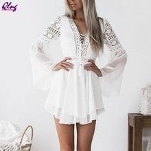 Summer Dress For Women Lace Long Sleeve Bodycon Cocktail Party  White Dress Bandage Dresses  Sundress цена