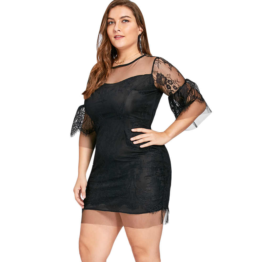 2afcca3b3293 ... GAMISS Plus Size 5XL 4XL Sheer Lace Insert Mini Bodycon Dress Women Sexy  Mesh Night Party ...